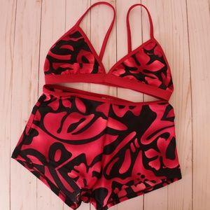 Nike 2-Piece Reversible Red Black Floral Swim Suit